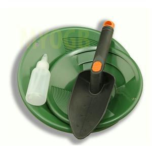"Gold Panning Kit 10"" & 8"" Green Pans Bottle Snuffer & Scoop-Mining Prospecting"