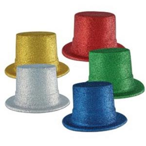 Glitter Top Hats Assorted Colors