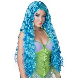 Aqua and Blue Sea Siren Mermaid Long Curly Costume Wig