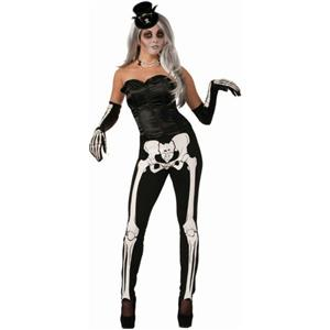 Sassy Skeleton Womens Black Costume Leggings with Bone Print