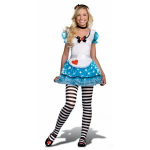 Juniors Wonderland's De-Light 4 Piece Knit Apron Style Dress Alice Teen Costume