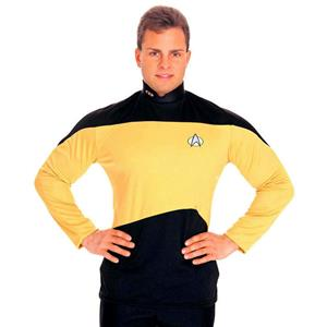 Star Trek: The Next Generation Gold Uniform Adult Costume Shirt Size Small