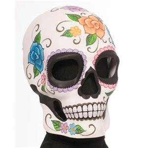 Flowered Male Day Of the Dead Adult Mask Full Face