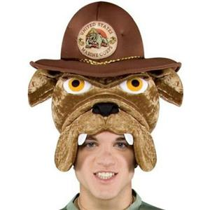 Military Mascot Adult Marine Corps Chesty Bulldog Hat Headpiece