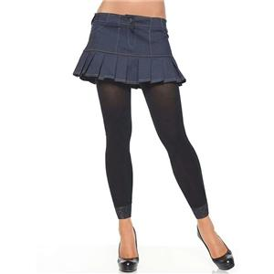 Black Opaque Footless Tights with Lace Trim