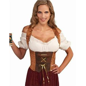 Womens Large Brown Renaissance Maiden Corset Top Adult Costume
