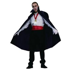 """Black Nylon Taffeta Vampire Disguise Cape 45"""" Long with Stand Up Collar 75001"""