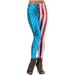 Shiny Patriotic Women's Marvel Universe Captain America Adult Metallic Leggings