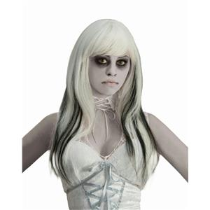 Phantom Ghost Wig Long White and Black Ghost Wig with Bangs