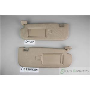 2011-15 Kia Optima Sun Visor Set Pair Covered Mirrors Adjustable Arm Bars