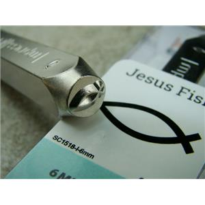 """Jesus Fish"" 1/4""-6mm-Large Stamp-Metal-Hardened Steel-Gold & Silver Bar"