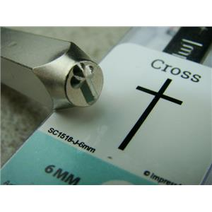 """Thin Cross"" 1/4""-6mm-Large Stamp-Metal-Hardened Steel-Gold & Silver Bar"