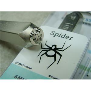 """Spider"" 1/4""-6mm-Large Stamp-Metal-Hardened Steel-Gold & Silver Bar Tattoo"
