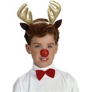 Child Reindeer Antlers Headpiece Bow Tie and Nose Costume Accessory Kit