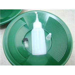 "Lot of 2 - 8"" Green Gold Pans w/ Bottle Snuffer & Vial-Panning Kit-Duel Riffles"