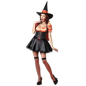 Wicked Wishes Orange and Black Sexy Womens Witch Costume Size Large