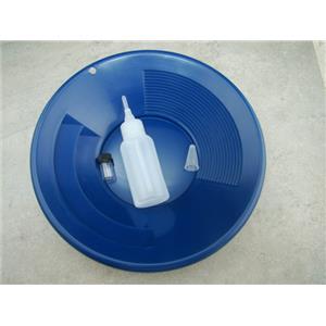 """10"""" Blue Gold Pan - Panning Kit , Bottle Snuffer, & Vial - Mining Prospecting"""