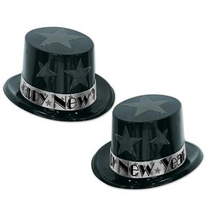Black and Silver New Year Star Topper Plastic Party Top Hat
