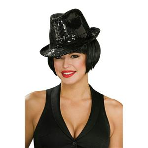 Black Sequin Fedora Costume Hat