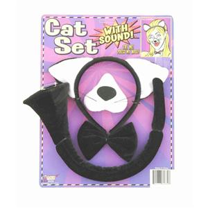 Black Cat Animal Costume Set Ears Nose Tail with Sound Effects