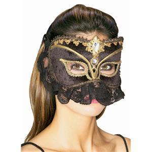 Jeweled Princess Sultana Venetian Mask Black