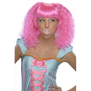 Pink Bubble Gum Doll Style Crimped Wig with Bangs