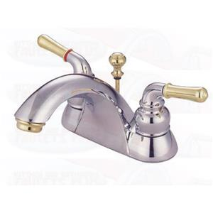 "Kingston Brass KB2624 Naples  4"" Centerset Bathroom Sink Faucet - Polished Chrome With Brass Accents"