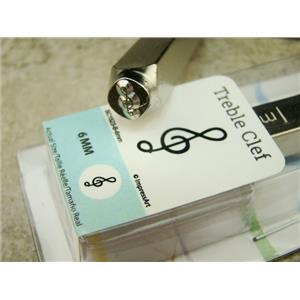"""""""Treble Clef"""" Music 1/4""""-6mm-Large Stamp-Metal-Hardened Steel-Gold & Silver Bar"""