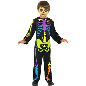 Kids Neon Rainbow Punky Skeleton Halloween Costume Size Small