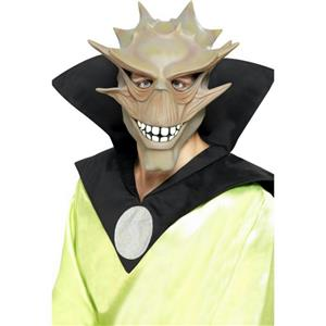 Men's Beige/Grey Alien Spike Costume Latex Adult Mask