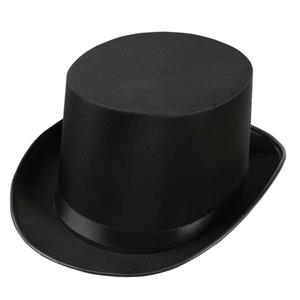 Deluxe Adult Black Satin Top Hat Costume Accessory