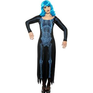 Women's X Ray Costume Long Sleeve Tube Skeleton Dress Size Large