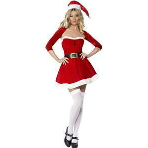 Women's Fever Sexy Santa Babe Adult Costume Dress Shrug Hat Size Medium