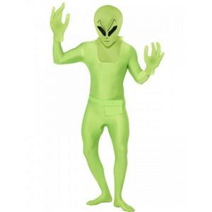 Green Alien Second Skin Suit Adult Costume Size Large