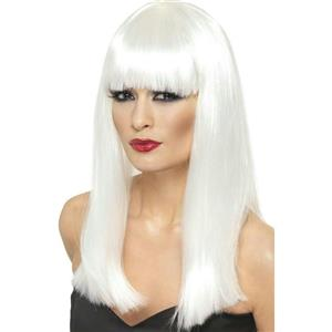 Neon White Glamourama Lady Pop Star Wig
