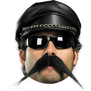 Self Adhesive Black Biker Mustache Facial Hair