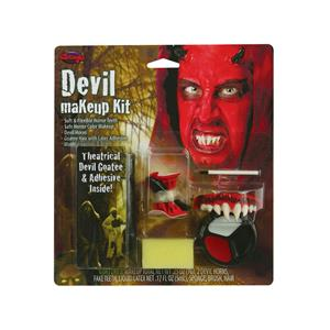 Devil Red Satan Makeup Kit Horns, Teeth and Color Cups