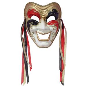 Tri-Color Black Red Gold Comedy Venetian Masquerade Mardi Gras Mask