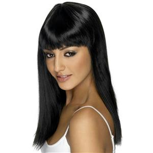 Black Long Straight Glamourama Lady Pop Star Wig with Bangs