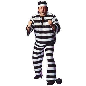 Convict Man Plus Size Adult Full Figure Costume