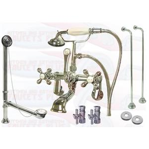 Kingston Brass CCK58T1 Wall Mounted Clawfoot Tub Faucet Kit - Polished Chrome