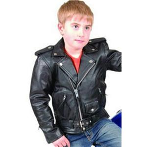 Biker Style Child Size Deluxe Genuine Leather Jacket by Manzoor