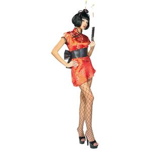 Women's Deluxe Sexy Japanese Lady Geisha Adult Costume Medium 10-14 Wig Included