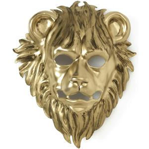 Gold Plastic Leo the Lion Animal Mask