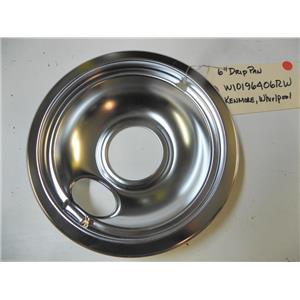 NEW WHIRLPOOL KENMORE OVEN RANGE STOVE 6 INCH CHROME DRIP PAN BOWL W10196406RW