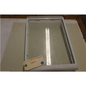 GE REFRIGERATOR WR32X10164 SNAP ON GLASS SHELF END CAP W/DELI CRISPER HOLDER ASM