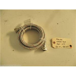 """WASHER STAINLESS BRAIDED HOSE HOT WATER 6', 3/4"""" INLET & OUTLET USED PART"""