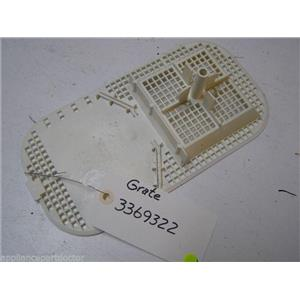 WHIRLPOOL DISHWASHER 3369322 GRATE USED PART ASSEMBLY