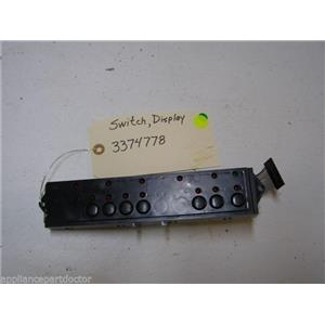 WHIRLPOOL DISHWASHER 3374778 DISPLAY SWITCH USED PART ASSEMBLY