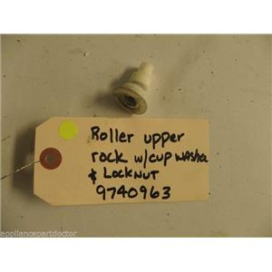 KITCHEN AID DISHWASHER 9740963 RACK TRACK ROLLER W/ CUP WASHER & LOCKNUT USED